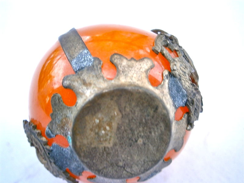 Vintage Orange Stone Glass Orb Snake Dragon Metal Ethnic Tribal Exotic Amber Coral Decorative Ornamental Asian Round Ball Symbol Collectible - product images  of