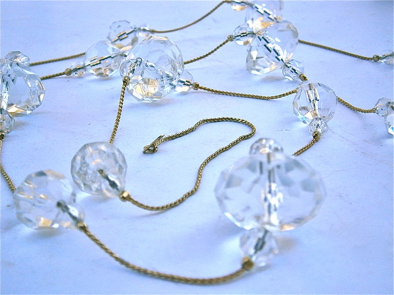 Vintage Faceted Acrylic Necklace 61 Inch 14k Gold Plated Lucite Bead Long Art Deco Runway Chic Multifaceted Transparent Clear Faux Crystal - product images  of