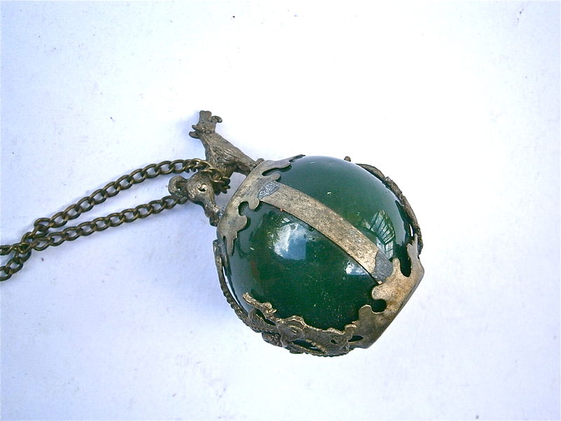 Vintage Jade Glass Stone Orb Stone Dragon Dog Pendant Necklace Encased Caged Symbolic Forest Green Ball Globe Artsy Decorative Artsy Jewelry - product images  of