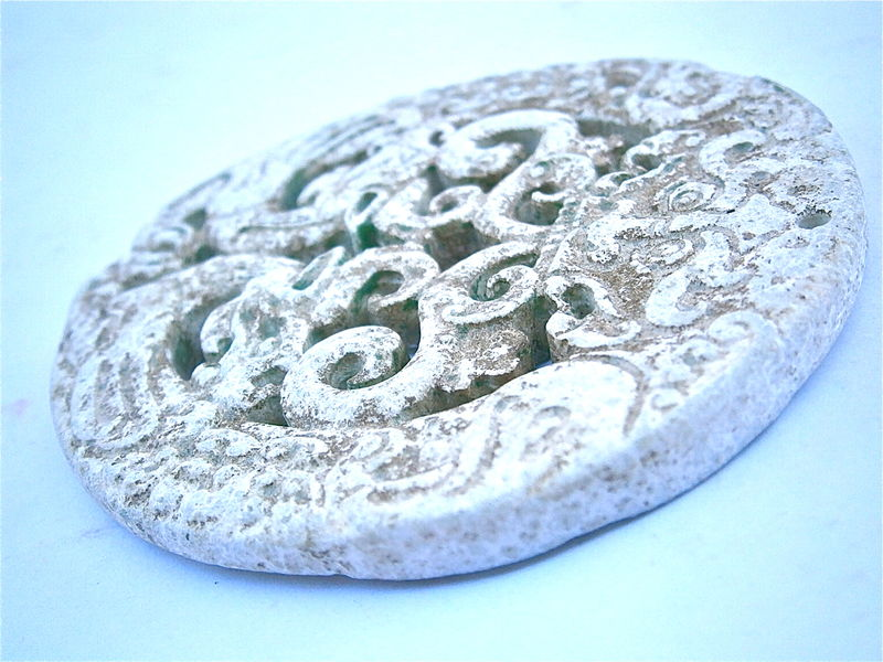 Vintage Two Dragon Carved Stone White Pottery Ceramic Clay Chinese Asian Oriental Vishnu Buddha Intricate Round Medallion Paperweight Circle - product images  of