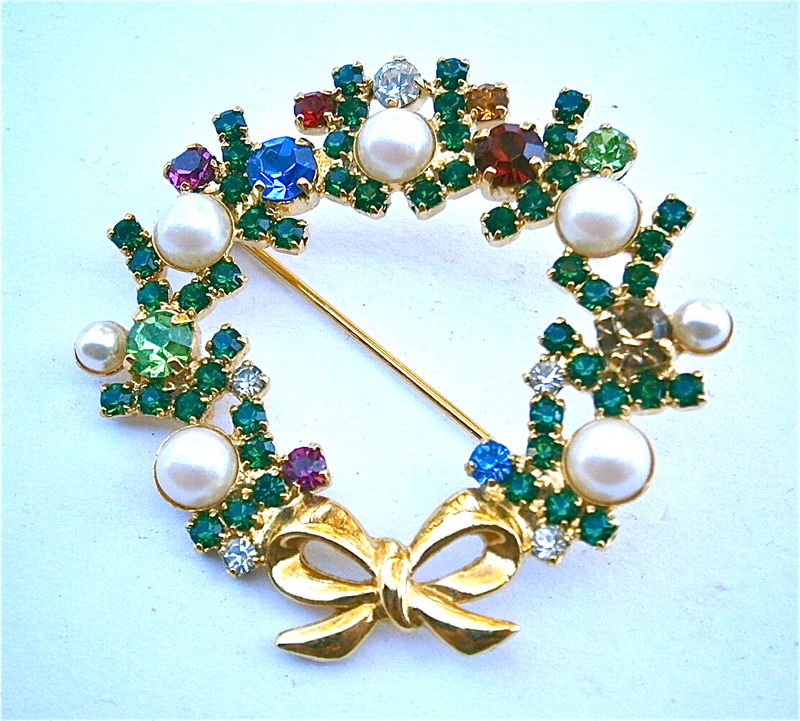 Vintage Christmas Wreath Brooch Shiny Gold Tone Faux Pearl Bead Red Green Blue Rhinestone Pin Sign Sphinx Festive Holiday Season Bow Ribbon  - product images  of