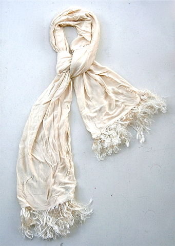 Vintage,Ivory,Designer,Scarf,DKNY,Donna,Karan,New,York,Ecru,Vanilla,Cream,Fringe,Tassel,Ribbed,Textured,Line,Texudo,Hose,Round,French,France,vintage ivory designer tassel scarf, vintage dkny cream textured scarf, vintage donna karan cream texudo scarf, ecru textured scarf, dkny fringe tassel scarf, vintage french made scarf, vintage french designer cream long scarf, vintage cream fringe scarf