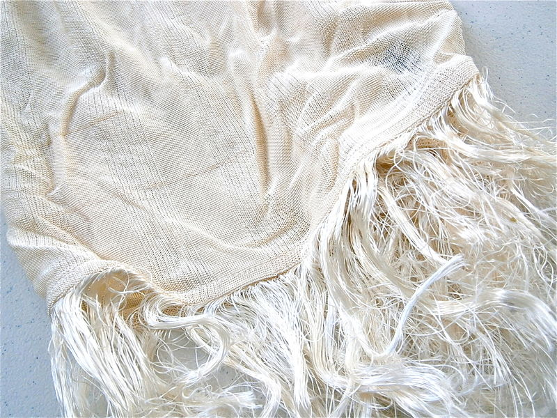 Vintage Ivory Designer Scarf DKNY Donna Karan New York Ecru Vanilla Cream Fringe Tassel Ribbed Textured Line Texudo Hose Round French France - product images  of