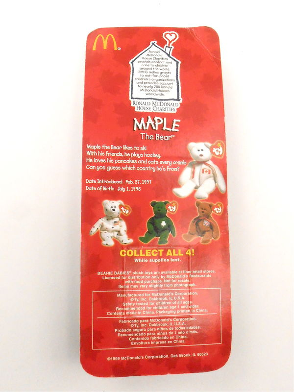 Vintage Maple Bear TY Beanie Baby Patriotic Flag White Teddy McDonald Happy Meal Toys Kids Happy Meal Canada Canadian Red White Ice Hockey  - product images  of