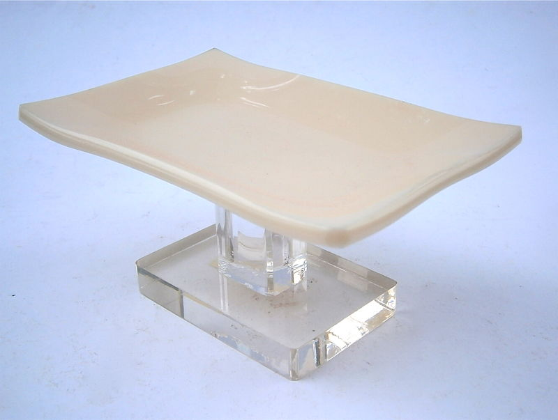 Vintage Beige Soap Dish Holder Solid Color Clear Acrylic Lucite Stand Pedestal Retro Minimalist Mod Bathroom Vanilla Modernist Hard Plastic - product images  of