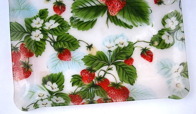 Vintage Strawberry Rectangular Tray Platter Red Green Fruit Acrylic Lucite Large Serving Plate Entrée Appetizer Picnic Kitchen Event Party - product images  of
