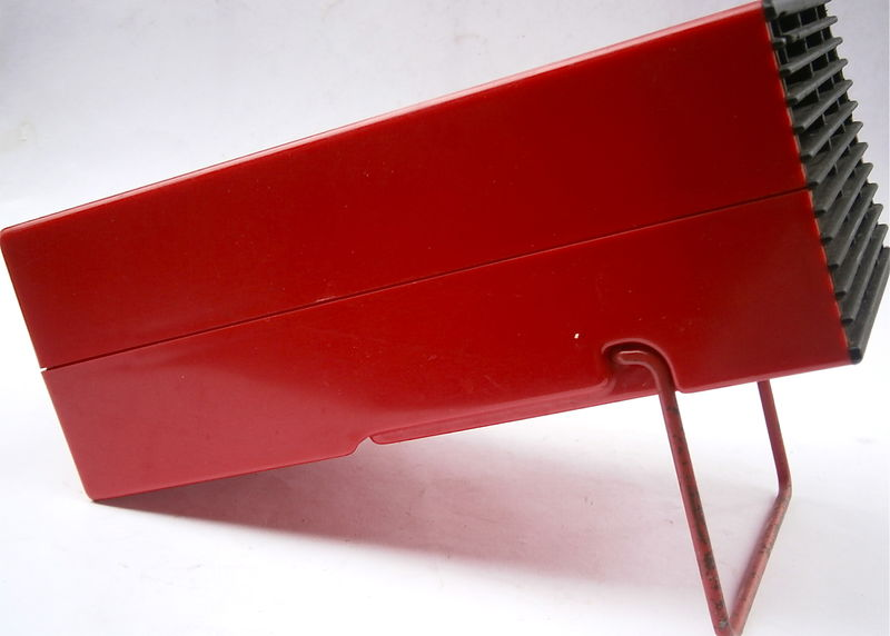 Vintage Red Kitchen Holder Knives Set Plexiglass Crown Corningware Glass Works Knife Block Organizer Modernist Sharpening Honing Rod Cutlery - product images  of