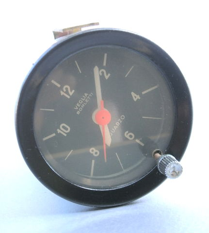 Vintage,60s,70s,Ferrari,Clock,Dashboard,Round,12,Volt,Veglia,Borletti,Quarzo,Black,Gauge,OEM,52mm,Barrel,Rare,Genuine,Authentic,Light,Harness,60s ferrari dashboard clock, vintage 70s ferrari dashboard clock, vintage veglia borletti ferrari clock, oem ferrari car clock, 52mm ferrari clock, rare ferrari car clock, genuine ferrari veglia dashboard clock, vintage oem ferrari analog clock restoratio