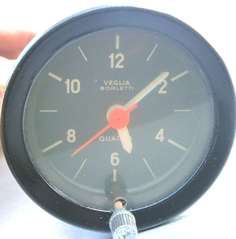 Vintage 60s 70s Ferrari Clock Dashboard Round 12 Volt Veglia Borletti Quarzo Black Gauge OEM 52mm Barrel Rare Genuine Authentic Light Harness - product images  of