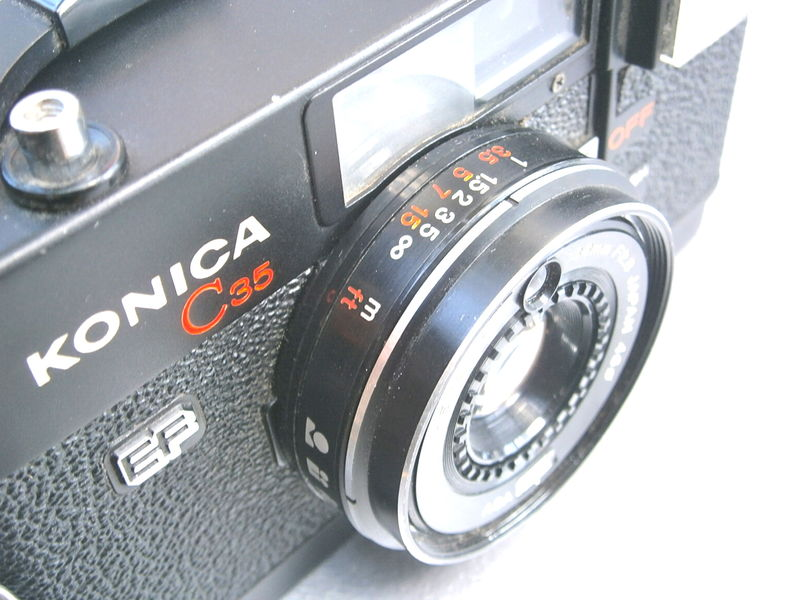 Vintage 70s Konica C35 Camera EF 35mm Film 38mm/ F2.8 Hexanon Japanese Black Case Retro Flash Light Meter Collectors Collectible Collezione - product images  of