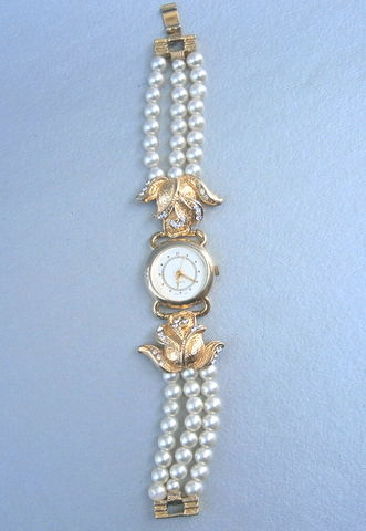 Vintage,Faux,Pearl,Watch,Bead,Bracelet,Wrist,Ladies,Three,Multi,Strand,Round,Gold,Tone,Rhinestones,Rose,Buds,Flowers,Wedding,Women,Art,Deco,vintage faux pearl bracelet, vintage multi strand pearl bead ladies watch, three strand pearl bracelet watch, 5mm beige pearl bead, bride pearl bead gold tone watch, art deco gold flower ladies watch, pearl rhinestone wrist watch, 7 inch pearl bracelet