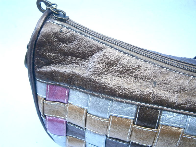 Vintage Bronze Leather Shoulder Bag Woven Patchwork Metallic Brown Gold Pink Silver Crescent Purse Brass Chain Link Flower Power Daisy Pouch - product images  of