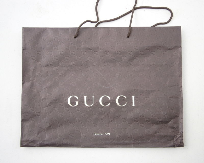 Large Genuine Gucci Shopping Bag Paper Dark Brown Designer Rope Handles Signature Icon Logo Embossed High End 19 Inches x 14 Inch Gift Wrap  - product images  of