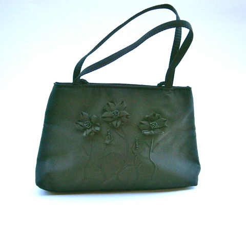Vintage,Black,Flower,Evening,Handbag,Formal,Shoulder,Bag,Petals,Sequins,Cord,Soft,Sided,La,Rue,Fabric,Versatile,Clutch,Purse,Embroidered,2D,vintage black flower handbag, petal flower bead sequin shoulder bag, versatile vintage la rue floral black bead bag, 2d petal floral bag, black bead fabric handbag, black seed bead bag, black floral handbag, black petal bead sequined bag, black bead purse