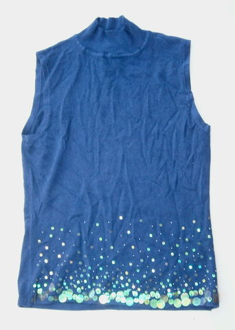 Vintage,Dark,Blue,Sweater,Top,Lycra,Mock,Turtle,Neck,Knit,Shirt,Starry,Midnight,Paillettes,Beads,Blouse,Sleeveless,Large,Navy,Borealis,vintage shimmering dark blue sleeveless sweater, navy blue lycra shirt, starry midnight top, blue seed beads paillettes ladies blue sweater, large blue sweater turtleneck, midnight blue knit large blouse, dark blue sweater shirt, high neck blue shirt