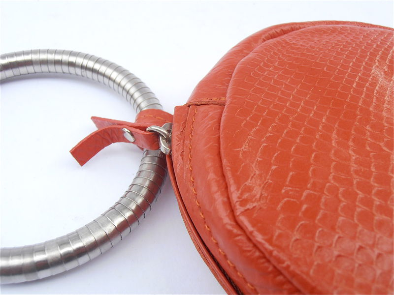 Pre Owned Breil Orange Snakeskin Leather Wristlet - product images  of