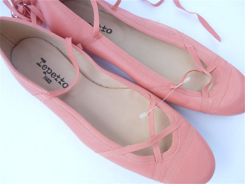 Repetto Ballet Shoes Flats Slippers Peach Coral Grosgrain Ribbon New Size 8.5 - product images  of