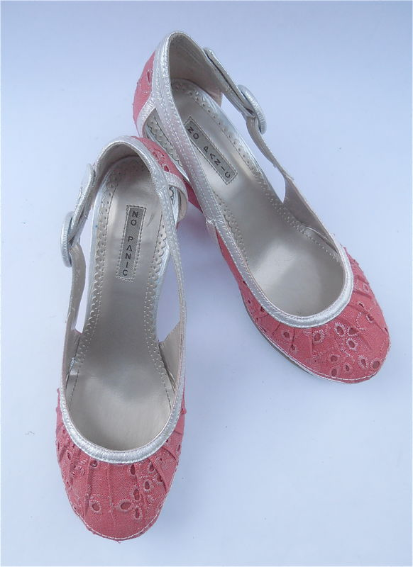 Red Silver Shoes Wedge Ladies Womens Fabric Eyelet Size 38 7.5 8 Pre Owned - product images  of