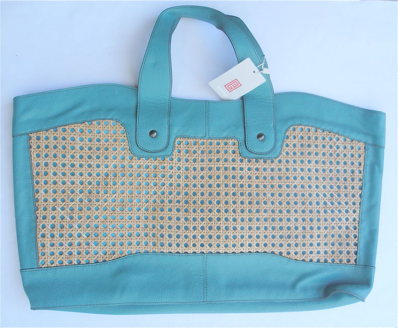 Pre owned Stefanel Bag Designer Bag Green Leather Bag Oversized Stefanel Woven Purse Stefanel Tote Bag Italian Leather Large Shoulder Bag - product images  of
