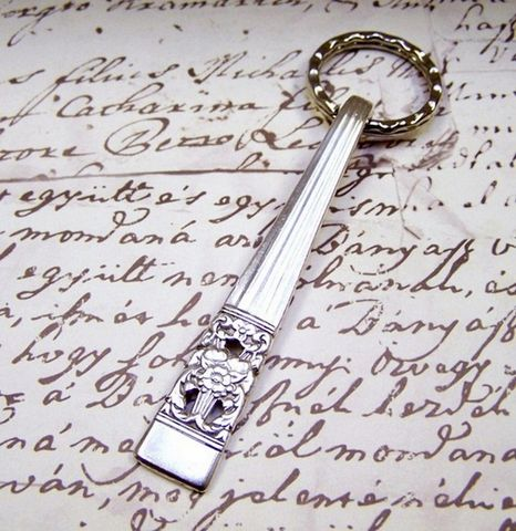 Key,Ring,Handcrafted,Vintage,Spoon,Handle,Community,CORONATION,c1936,vintage flatware, antique flatware, flatware key ring, spoon handle key ring