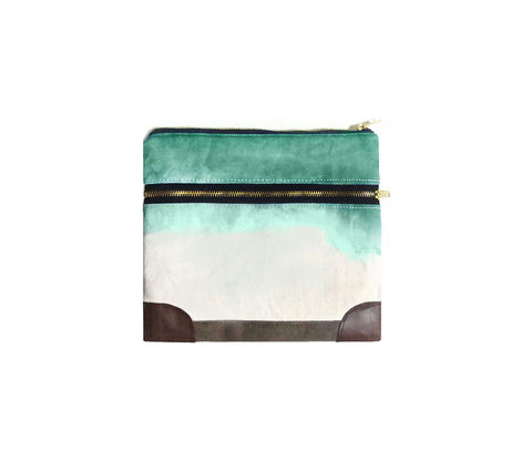 Everything,iPad,Case,,Waxed,Canvas,,Leather,,Custom,Dyed,Shibori,Jade,Bags_And_Purses,pouch,dip_dye,ombre,hand_dye,gadget_case,ipad,ipad_mini,case,iphone,waxed_canvas,leather,water_resistent,canvas,olive,jade,green,cream