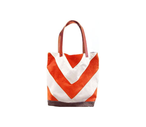 Chevron,Tote,City,Market,w/,Leather,Straps,in,Tequila,chevron,waxed,canvas,leather,utility,antique brass,natural,olive, Poppy, Nectarine, Orange