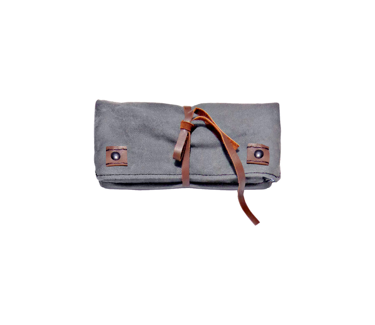 Waxed Canvas Pencil Case with Leather, Roll Out Sleeve - product images  of