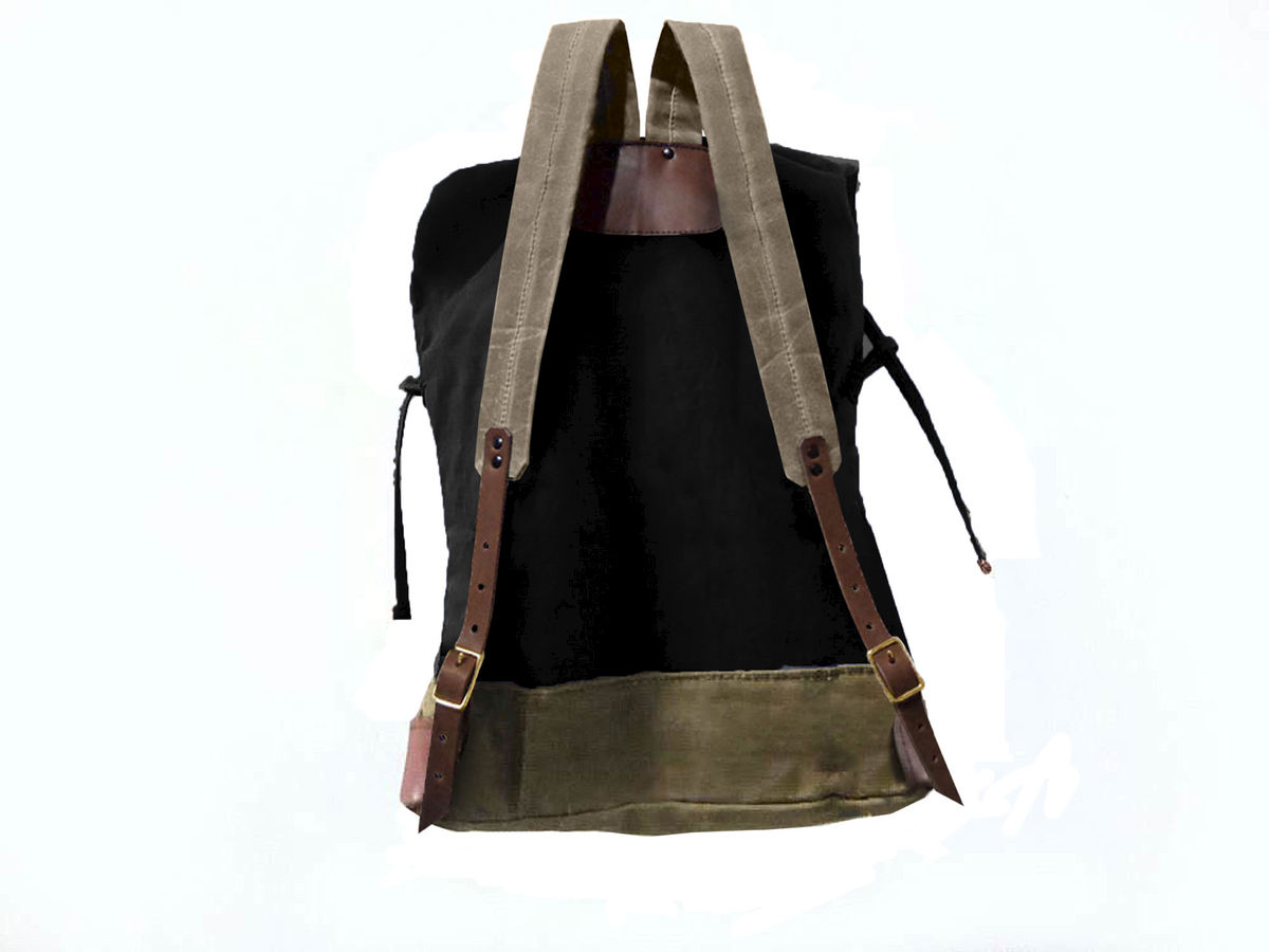 Sessa Carlo Waxed Canvas Backpack and Leather, Resistance - product images  of