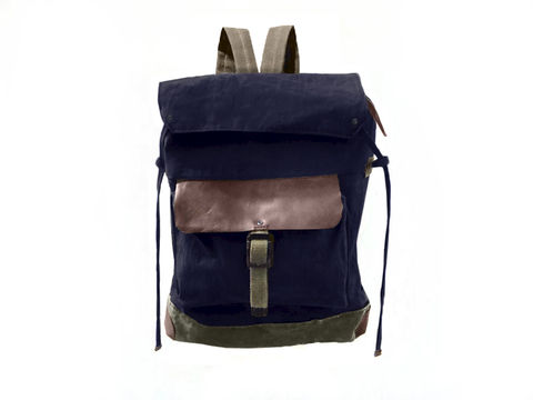 Sessa,Carlo,Waxed,Canvas,Backpack,and,Leather,,Navy,backpack, mclovebuddy, sessa_carlo, waxed_canvas, leather, military, utilitarian, brass, brown, navy