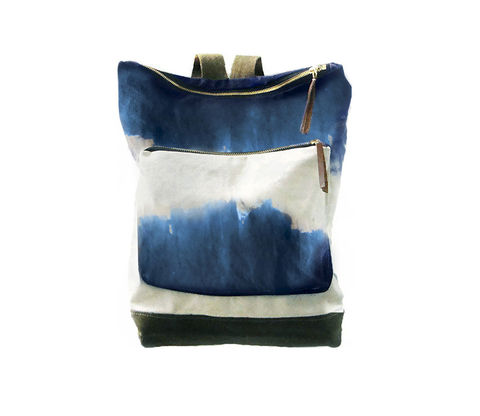 City,Backpack,,Hand-Dyed,,Custom-Waxed,-,Indigo,Bags_And_Purses,Backpack,dip_dye,ombre,shibori,hand_dyed,canvas_backpack,leather_backpack,leather,backpack,nrucksack,antique brass,canvas,nylon,cream,brown,olive,indigo