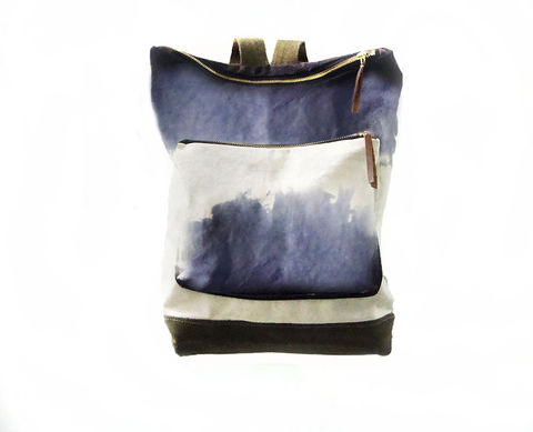 City,Backpack,,Hand-Dyed,,Custom-Waxed,-,Storm,Bags, Backpack, Shibori, waxed, canvas, leather, brass, custom, storm, lavender