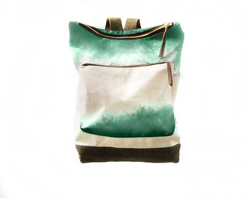 City,Backpack,,Hand-Dyed,,Custom-Waxed,-,Jade,Bags_And_Purses,Backpack,dip_dye,ombre,Shibori,hand_dyed_canvas_backpack,leather_backpack,,rucksack,leather,brass,canvas,cream,brown,olive,jade