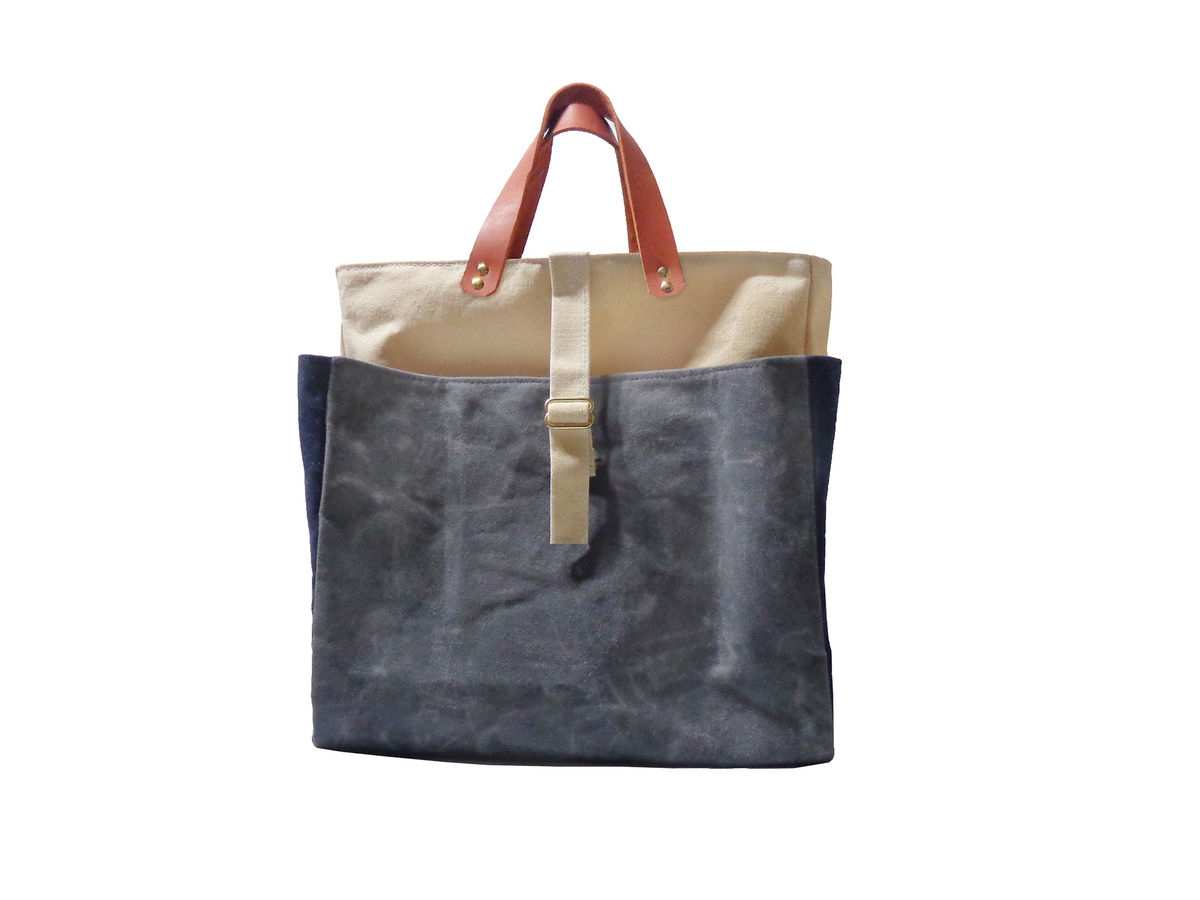 Expandable Pop Market Tote w/ Leather Handles, Waxed Canvas - Charcoal, Blue, Natural - product images  of
