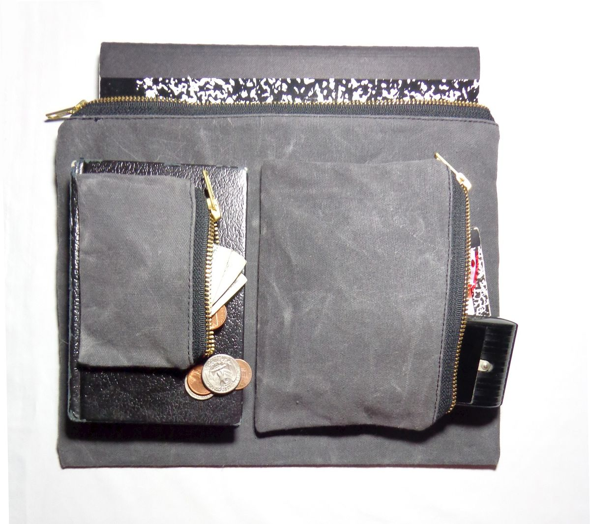 Waxed Canvas Pouch Nesting Set of Three, Charcoal - product images  of