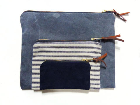 Waxed,Canvas,Pouch,Set,of,Three,-,Charcoal,,Stripes,,Navy,accessories,pouch,gadget,case,peripherals,cords,iphone,ipad,set,waxed,canvas,ticking,brass,leather,Charcoal, Stripes