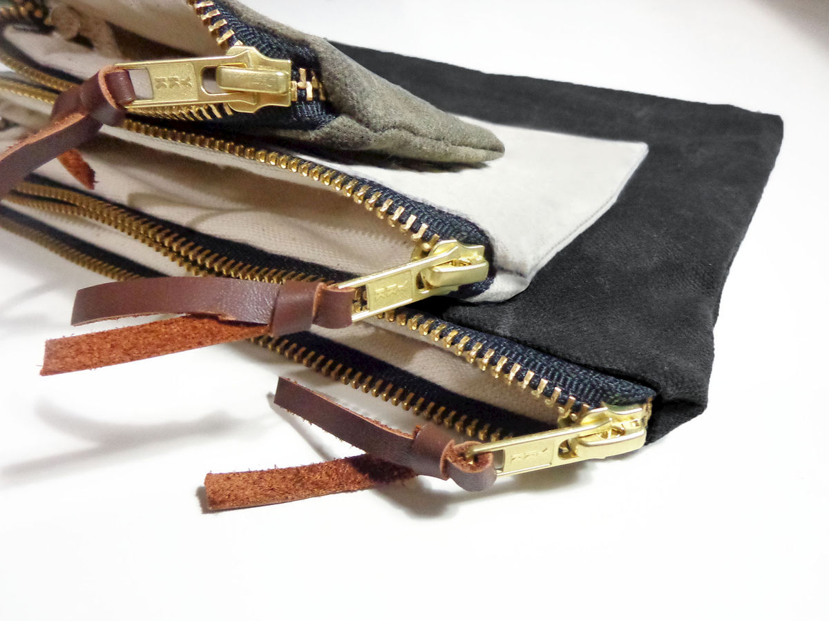 Waxed Canvas Pouches Nesting Set of Three - Black, Natural, Olive - product images  of