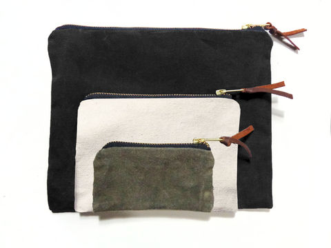 Waxed,Canvas,Pouches,Nesting,Set,of,Three,-,Black,,Natural,,Olive,pouch,gadget,case,peripherals,cords,iphone,ipad,set,waxed,canvas,ticking,brass,leather,Black,Natural