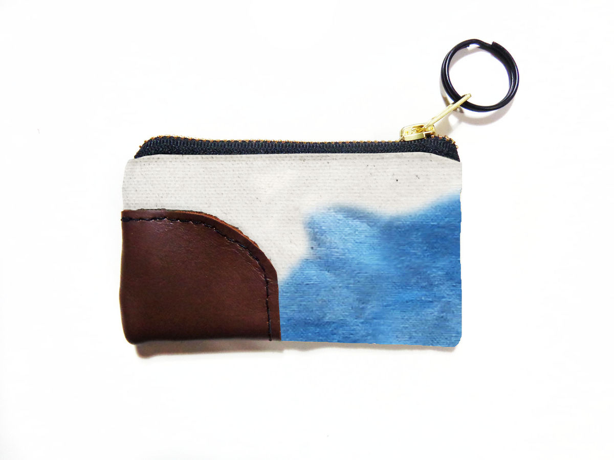 Waxed Canvas Zip Wallet Keyring - Indigo - product images  of