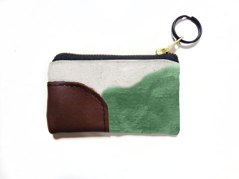Waxed,Canvas,Zip,Wallet,Keyring,-,Jade,keyring, wallet, pouch, waxed canvas, leather, brass, brown, natural, jade