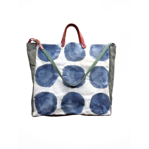 Convertible,Tote,,Bucket,,Crossbody,w/,Leather,Straps,-,Watercolor,Indigo,Dots,bag_Convertible_Tote_Bucket_Crossbody_waxed_canvas_Leather_Straps_Meta_large_market_beach_picnic_gym_lWatercolor_Indigo_Dots