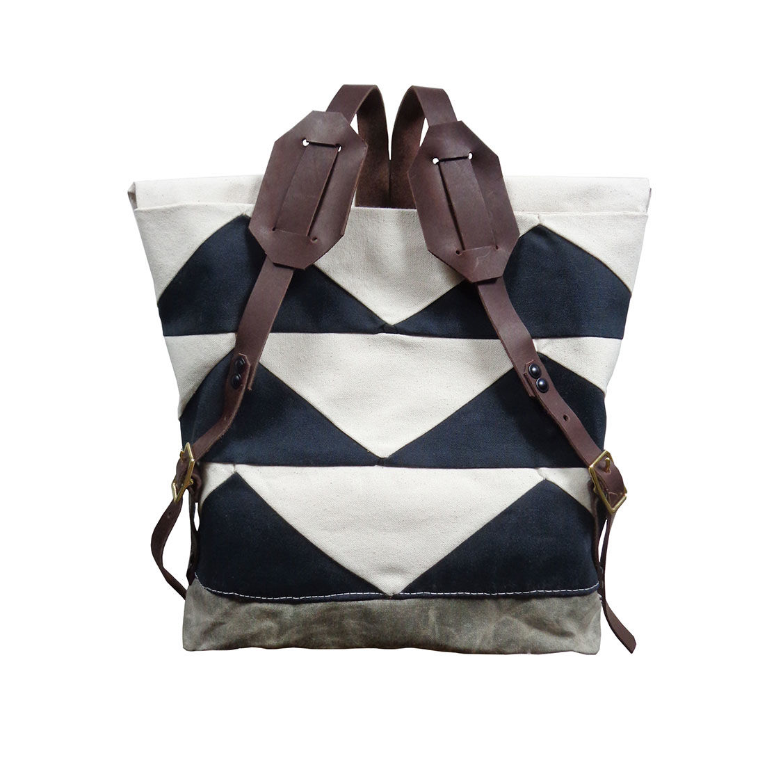 Convertible Tote, Backpack w/ Leather Straps -  Black Bunting Triangle - product images  of