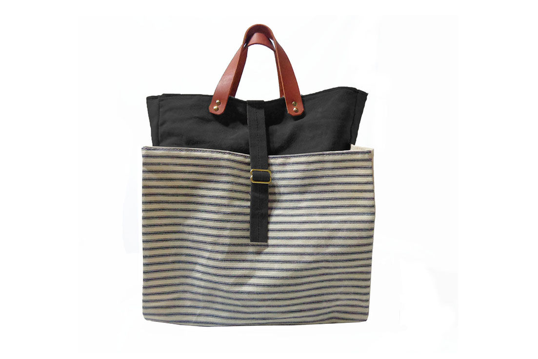 Expandable Pop Market Tote, Waxed Canvas w/ Leather Handles  - Stripes,  Black - product images  of
