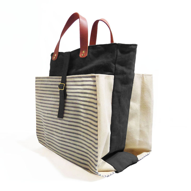 Expandable Pop Market Tote, Waxed Canvas w/ Leather Handles ...