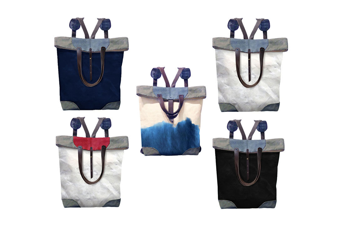 Pop Convertible Backpack Tote, Waxed Canvas - Navy - product images  of