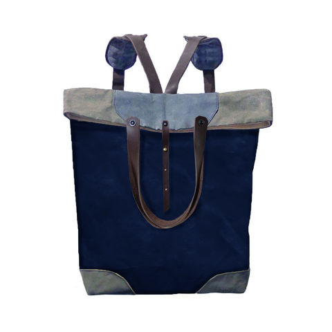 Pop,Convertible,Backpack,Tote,,Waxed,Canvas,-,Navy,Bags_And_Purses,tote,convertible,handles,shopper,waxed_canvas,leather,nickel,hardware,black,blue,grey