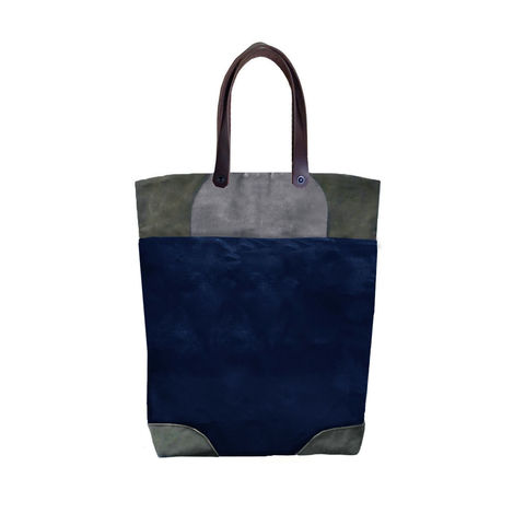 Pop,Tote,in,Waxed,Canvas,,Leather,Straps,-,Navy,tote,convertible, market, shopper,waxed,canvas,leather,brass,hardware,natural,olive,navy,blue