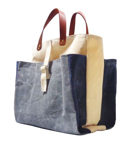Expandable,Pop,Market,Tote,w/,Leather,Handles,,Waxed,Canvas,-,Charcoal,,Blue,,Natural,market,shopper,tote, bag, waxed_canvas, waxed, canvas,mclovebuddy,leather, military, utilitarian, brass,Charcoal,Navy,blue,natural