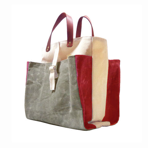 Expandable,Pop,Market,Tote,Waxed,Canvas,w/,Leather,Handles,-,Safari,market,tote, bag, waxed, canvas,ticking,mclovebuddy,leather, military, utilitarian, brass, natural,red, olive