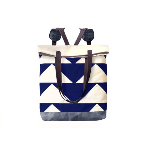 Convertible,Tote,,Backpack,w/,Leather,Straps,-,Bunting,Triangle,Navy,Bags,backpack,convertible,Tote,waxed,canvas,leather,triangle,military,utility,cream,charcoal,antique brass