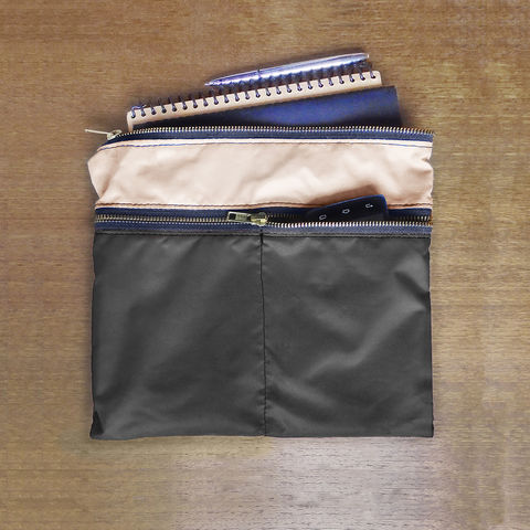 3,Zip,Pocket,Gadget,Pouch,,Waxed,Canvas,Charcoal,pouch,organizer,case,pen,gadget,ipad,iphone,nylon,waterproof,charcoal,khaki